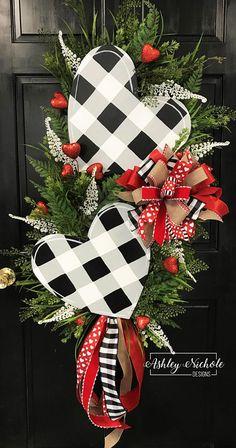 Double Black Buffalo Check Heart Swag Wreath Valentine's