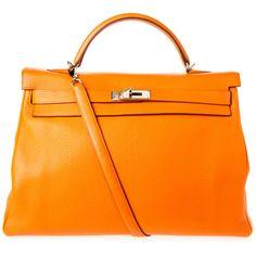 Pre-owned Hermes Shoulder Bag ($25,000) ❤ liked on Polyvore featuring bags, handbags, shoulder bags, apparel & accessories, orange, wallets & cases, hermes shoulder bag, pre owned handbags, orange purse and orange handbags