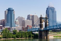 "John A. Roebling Suspension Bridge - Cincinnati, Ohio.  When I was a kid we called it the ""Singing Bridge""."