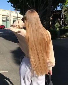 Blonde Hair Looks, Brown Blonde Hair, Really Long Hair, Long Hair Video, Aesthetic Hair, Silky Hair, Smooth Hair, Light Hair, Beautiful Long Hair