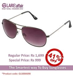 Farenheit Superb FA931 Gunmetal Grey Gradient Aviator Sunglasses http://www.glareaffair.com/sunglasses/farenheit-superb-fa931-gunmetal-grey-gradient-aviator-sunglasses.html  Brand : Farenheit  Regular Price: Rs1,699 Special Price: Rs999  Discount : Rs700 (41%)
