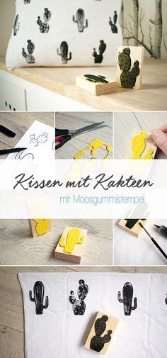 Dani von Gingered Things zeigt dir auf ihrem DIY Blog wie man mit Moosgummi ganz leicht selbst ein Kissen oder Stoff bedrucken kann. Tolle Deko mit Kakteen.