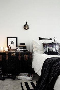 black and white bedroom with vintage trunk as bedside table / sfgirlbybay