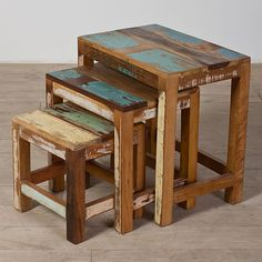 Set of Three Halebid Stripped Reclaimed-wood Nesting Tables (India) - Overstock Shopping - Top Rated Coffee, Sofa & End Tables