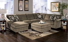 Living room - Comfy Grey Microfiber Large U Shaped Sectional Sofa Living Room With Square Ottoman And Chaise Lounge Using Rising Track Arms Including Thick Padded Foam Cushions, Wonderful Large Sectional Sofas For Living Room: Furniture, Living Room