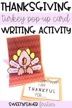 Need a quick, easy Thanksgiving writing prompt and craft? This fun, simple Thanksgiving pop-up card is an interactive, thoughtful way to celebrate Thanksgiving while fostering kindness and gratitude in your classroom! Your students will absolutely love making this for their family and loved ones!