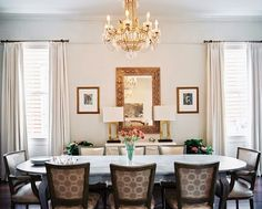 oval dining room table - lonny.com pale walls window treatments | crystal chandelier