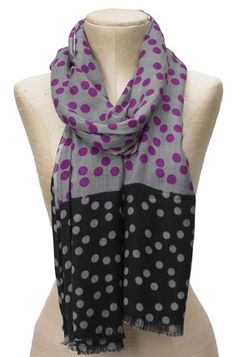 Color Block Polka Dot Scarf - Grey/Black