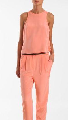 Tibi silk sleeveless tank and essentials pant. monochromatic to lengthen stature!