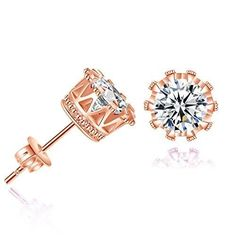 Beuu Diamond Crown Earrings Simple Fashion Earring Stud Women Jewelry ** Very nice of your presence to have dropped by to see our picture. (This is our affiliate link) Big Gold Hoop Earrings, Crown Earrings, Rose Gold Earrings, Stud Earrings, Diamond Earrings, Sterling Silver Jewelry, Gold Jewelry, Women Jewelry, Ruby Jewelry