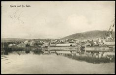 GJØVIK I OPPLAND FYLKE SEET FRA SØEN. (MJØSA) Br. 1909