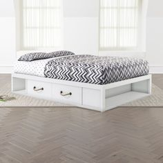 Topside White Full Storage Bed | Crate and Barrel