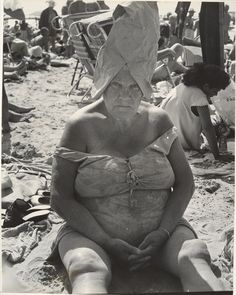 Woman Wearing Paper Bag Hat, Coney Island, New York, 1950s