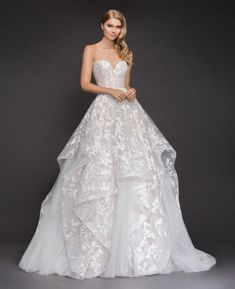 Style 1800 Lulu Blush by Hayley Paige bridal gown -Ivory floral embroidered tulle bridal ball gown, strapless sweetheart bodice, cascading tiered skirt with cashmere lining and horsehair trim.