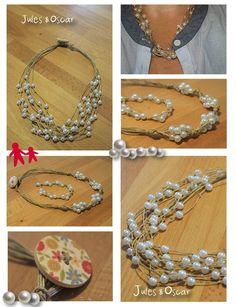 Collier en perle et fil de lin