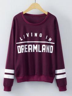 Burgundy Round Neck Letters Print Sweatshirt — 0.00 € -----------color: Burgundy size: L,M,S