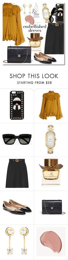 """Embellished Sleeves  MB"" by vkmd ❤ liked on Polyvore featuring Fendi, Chloé, Yves Saint Laurent, Marc Jacobs, Gucci, Burberry, Valentino, Chanel, Maria Francesca Pepe and ASOS"