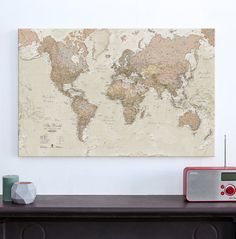 Antique Map of the World  Canvas  world map home decor