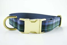 Classic Navy and Green Plaid Collar