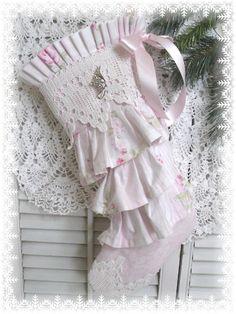 Shabby Chic PINK RUFFLES stocking (a)