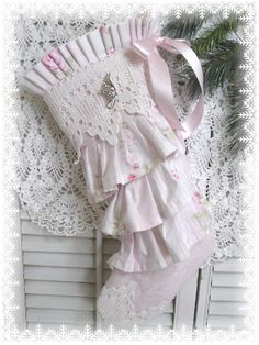 Shabby Chic PINK RUFFLES stocking (a)