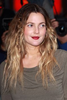Drew Barrymore - long ombre boho brown blonde plaited braided hippie hair style