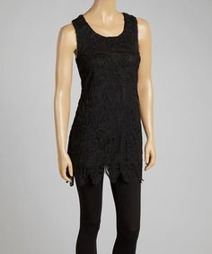 Love this Black Embroidered Silk-Blend Sleeveless Tunic by Pretty Angel on #zulily! #zulilyfinds