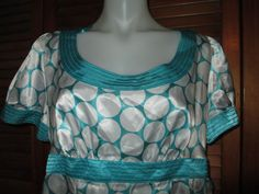 Style & Co Turquoise Blue and White Silky Polka Dot Top With Tie Back