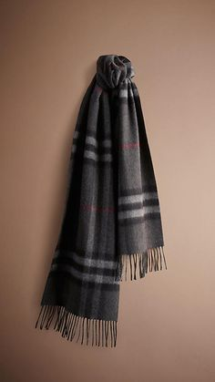 Burberry charcoal check Check Cashmere Scarf - A soft brushed cashmere scarf featuring the iconic check. The scarf is made in Scotland at a mill with a long heritage in producing cashmere.  Discover the scarf collection at Burberry.com