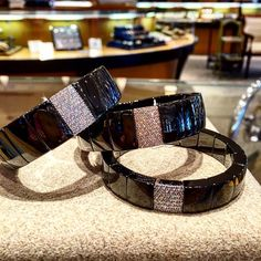 Just in! Stunning black ceramic and diamond bracelets by Roberto Demeglio. Call 216-464-6767 for more information.  www.alsonjewelers.com
