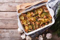 Hearty And Jam-Packed Side Dish: Cheesy Mushroom Bacon Potato Gratin  I would skip the mushrooms.