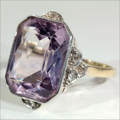 Lovely Light Amethyst and Diamond Antique Edwardian Ring: Removed Antique Rings, Vintage Rings, Antique Jewelry, Vintage Jewelry, Edwardian Ring, Edwardian Jewelry, Art Nouveau, The Bling Ring, Bling Bling