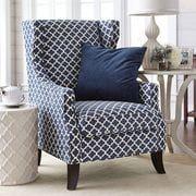 Alec Navy Blue Trellis Wing Chair