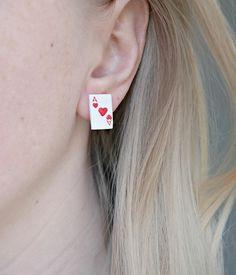 Ace of hearts cute tiny card earrings