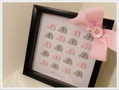 3D ELEPHANT Art in Framed Shadow Box -- Custom Baby Girl Room Decor, nursery wall art, kids wall art, baby nursery