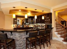 kitchen/bar right at bottom of stairs Basement +renovation +basement Design, Pic. kitchen/bar right at bottom of stairs Basement +renovation +basement Design, Pictures, Remodel, Dec House Design, Sweet Home, Bars For Home, House, Bar Design, Basement Bar Design, Basement Decor, Modern Home Bar, Basement Design