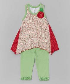 Red Floral Tunic & Green Leggings - Infant, Toddler & Girls by Mulberribush #zulily #zulilyfinds