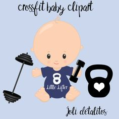 crossfit baby clipart by JoliDetallitos on Etsy Crossfit Baby, Baby Shower Checklist, Babies R, Baby Gym, Baby Cookies, Baby Invitations, Reveal Parties, Baby Party, Baby Boy Nurseries