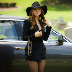 Elizabeth Gillies as Fallon Carrington in a short black Saint Laurent with a Charlotte Olympia bag and a custom-made Gladys Tamez Millinery veil giving major high fashion funeral goals Fashion Gone Rouge, Fashion D, Fashion Books, Fashion Outfits, High Fashion, Funeral Dress, Funeral Outfit, Elizabeth Gillies, Mode Outfits
