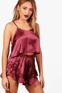 5f7e81ebf0 boohoo Alice Satin Vest   Short Set Sleepwear Women