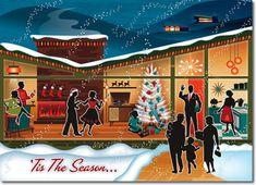 Mid Century Family Christmas Card