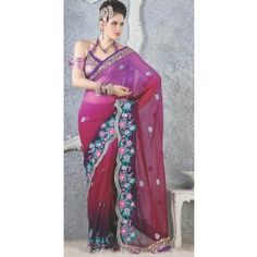 Shaded Violet with Reddish Maroon color Georgette saree