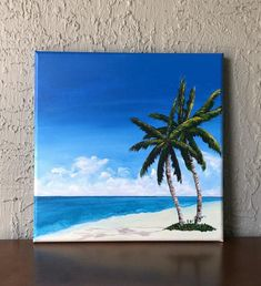 Beach Canvas Paintings, Seascape Paintings, Canvas Painting Projects, Beach Canvas Art, Acrylic Paintings, Art Projects, Abstract Ocean Painting, Hand Painting Art, Summer Painting