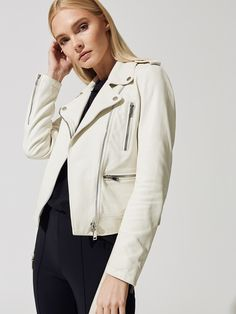 Meg Fashion Biker Jacket in White by Lth Jkt from Moto Style, Retro Outfits, Jackets For Women, Women's Jackets, Biker, Rain Jacket, Windbreaker, Raincoat, Leather Jacket