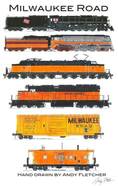 6 hand drawn Milwaukee Road drawings by Andy Fletcher