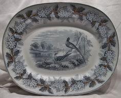 "SAMUEL ALCOCK 1847 ""BRITISH BIRDS"" AESTHETIC MOVEMENT 17"" TRANSFERWARE PLATTER #AestheticMovement #SAMUELALCOCK"