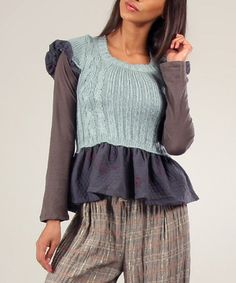 Look at this #zulilyfind! Blue & Anthracite Lilie Wool-Blend Sweater & Tee #zulilyfinds