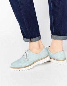 Image 1 of ASOS MATCHED UP Leather Flat Shoes