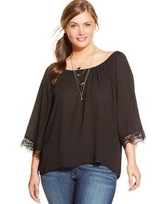 cb2c0cf77ca72 ING Plus Size Lace-Trim Relaxed Blouse Plus Sizes - Tops - Macy s