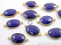 Natural Lapis Lazuli Bezel Gemstone Oval Component by Beadspoint, $6.99